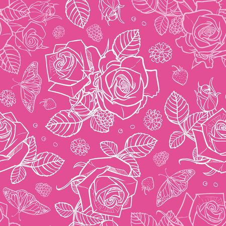 Vector pink roses and berries seamless pattern