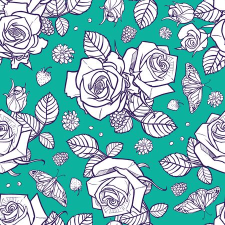 aqua green and white roses and berries seamless pattern