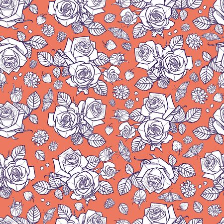 orange and white roses and berries seamless pattern