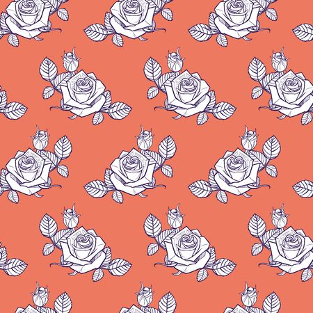 orange and white roses and berries seamless pattern 일러스트