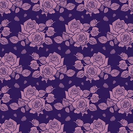 purple monochrome roses and berries seamless pattern 일러스트