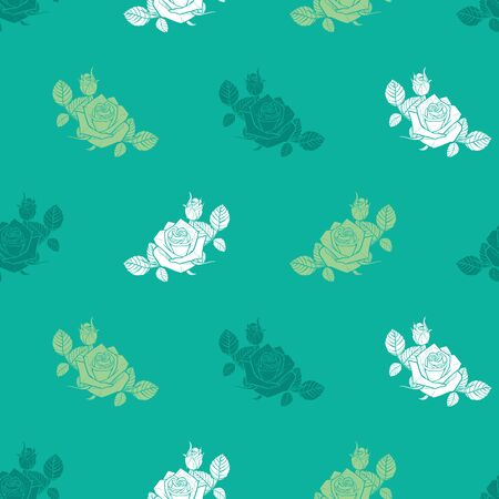 green monochrome roses and berries seamless pattern 일러스트