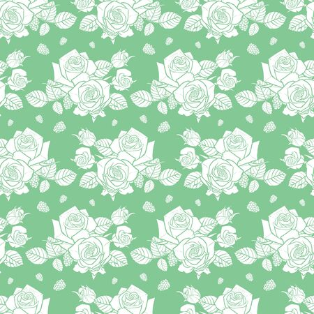 green and white roses and berries seamless pattern 일러스트