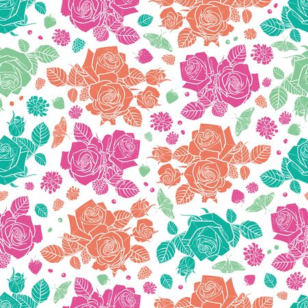 white spaced out roses and berries seamless pattern Colorful solid elements