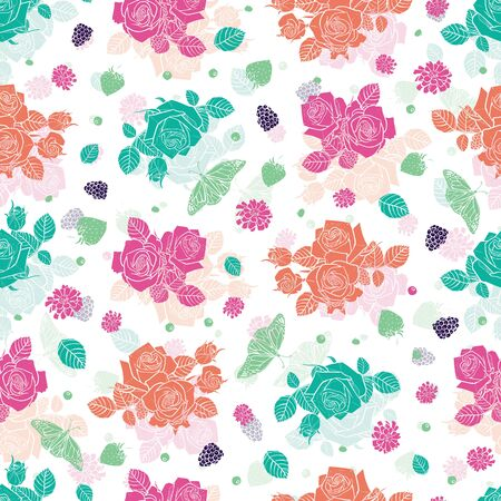white spaced out roses and berries seamless pattern Colorful solid elements with slightly transparent layer background