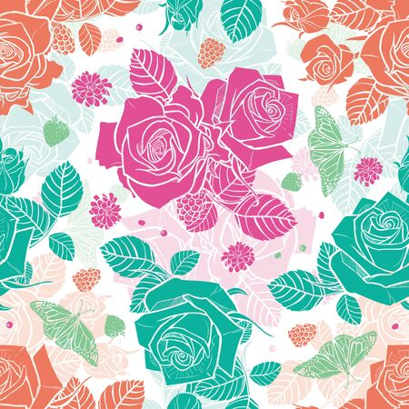 white roses and berries seamless pattern Colorful solid elements with slightly transparent layer background