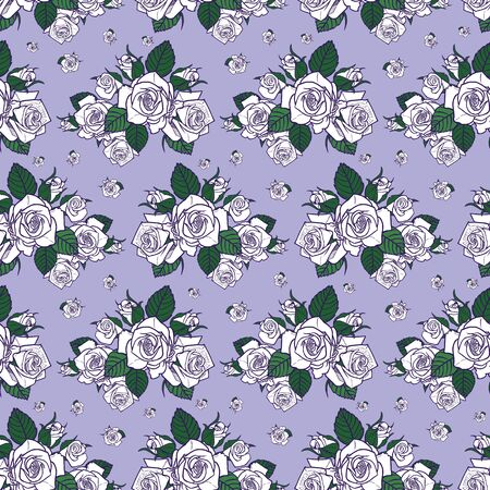Vector white roses with lilac purple background seamless pattern. Perfect for fabric, scrapbooking and wallpaper projects. Ilustracja