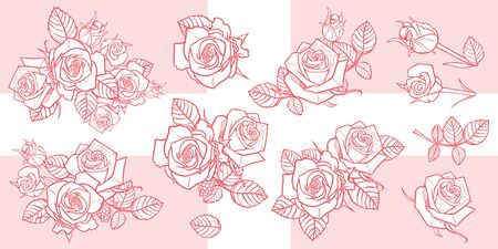 Vector illustration monochrome roses and leaves elements. Perfect for greeting cards and invitation cards for romantic occasions. Easily do light background watermarks or gold stamping.