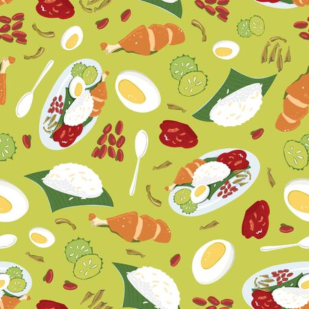 Vector colourful Malaysian food Nasi Lemak green repeat pattern. Perfect for fabric, scrapbooking and wallpaper projects. Çizim