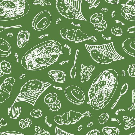 Vector green Malaysian food Nasi Lemak outlines single colour repeat pattern. Perfect for fabric, scrapbooking and wallpaper projects.