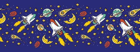 Vector blue space shuttle blast off with stars, moon and comet horizontal border pattern. Great for kids wall murals and wrapping paper or fabric. Standard-Bild - 134351706