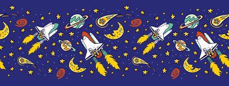 Vektorblaues Space Shuttle mit Sternen, Mond und Kometen horizontalem Grenzmuster. Ideal für Fototapeten für Kinder und Geschenkpapier oder Stoff. Vektorgrafik