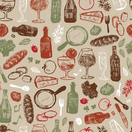 Vector light brown bar italia sketch illustration seamless pattern with bottles, wine glasses, bread, tomatoes and cheese. Perfect for fabric, restaurant menu and wallpaper projects. Surface pattern design.