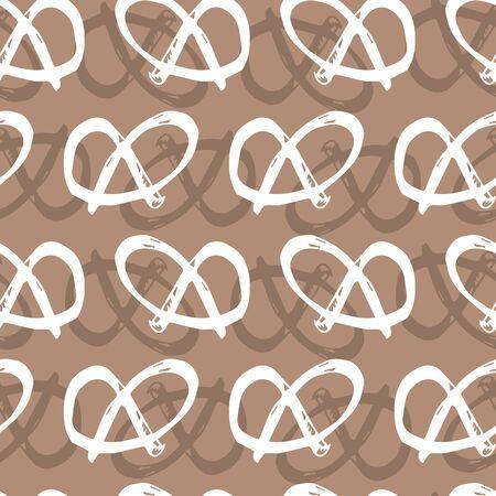 brown monochrome pretzel repeat pattern Vektoros illusztráció