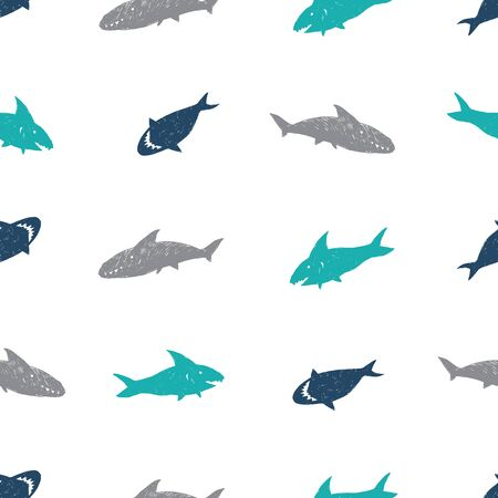 Vector white simple cute shark pen sketch repeat pattern. Great for baby apparel fabric.