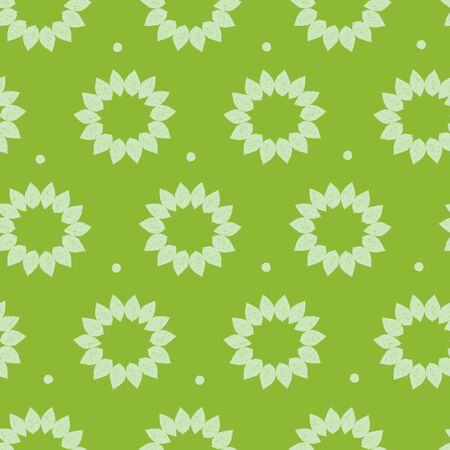 Vector green monochrome sunflower petal sketch repeat pattern. Suitable for textile, gift wrap, and wallpaper.