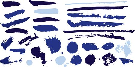 Vector blue artistic paint brush strokes and paint blob splatter elements. Suitable for your graphic design projects. Graphic elements.