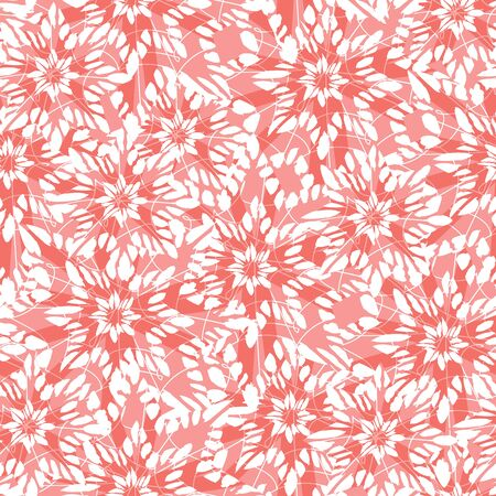 Vector red abstract snowflake stars overlapped texture seamless background. Suitable for textile, gift wrap and wallpaper. Ilustração
