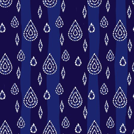 blue shibori abstract teardrops and diamonds seamless pattern.