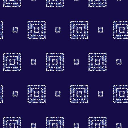 blue shibori tribal squares seamless pattern