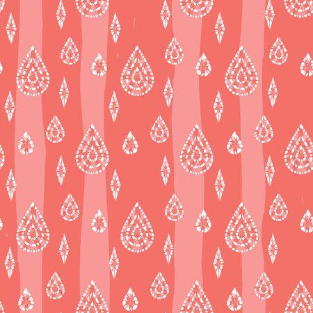 red shibori abstract teardrops and diamonds seamless pattern