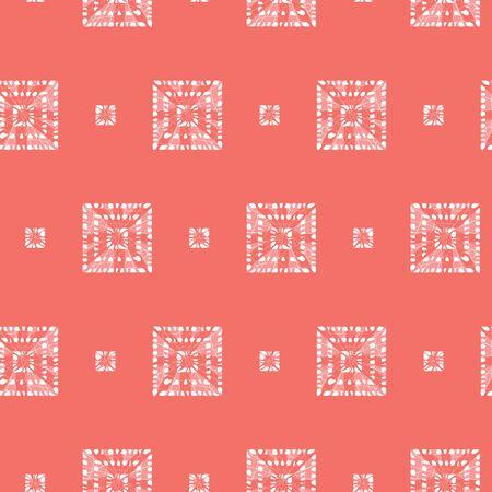 red shibori tribal squares seamless pattern.