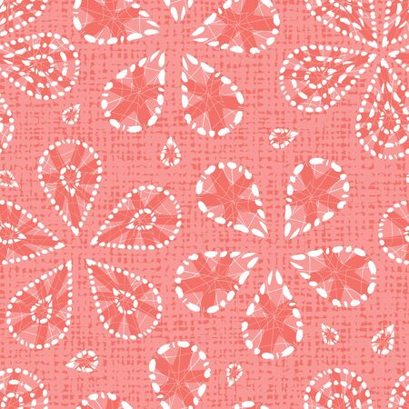 red shibori floral pattern with canvas background