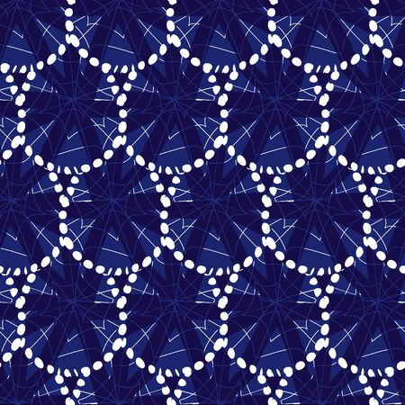 Vector blue and white shibori abstract teardrop scales pattern with spiderweb detail. Suitable for textile, gift wrap and wallpaper.Surface pattern design. Illustration