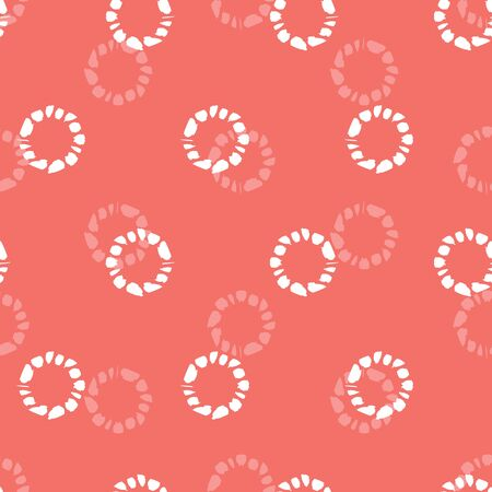 Vector red shibori circle seamless pattern. Suitable for textile, gift wrap and wallpaper. Surface pattern design.