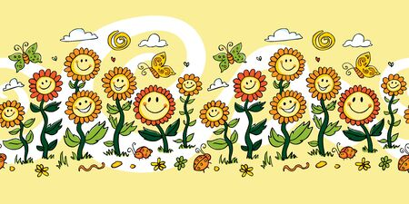 Vector yellow colourful cartoon sunflowers repeat horizontal border. Suitable for shower curtains and wall murals.Happy flowers.