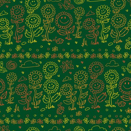 green chalkboard style sunflowers, daisies and butterflies repeat pattern. Surface pattern design.