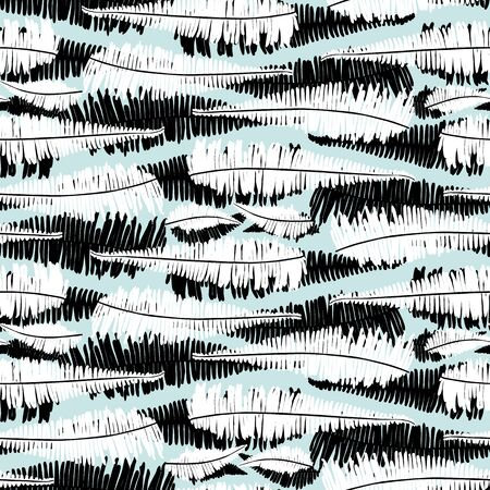 Vector black and white green mint jungle ferns horizontal stripes seamless pattern. Suitable for fabric, wallpaper and gift wrap.
