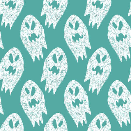 Vector green and white cute sketch of rows of cartoon ghosts seamless pattern. Background for halloween posters, greeting cards, invitations, wrapping paper.