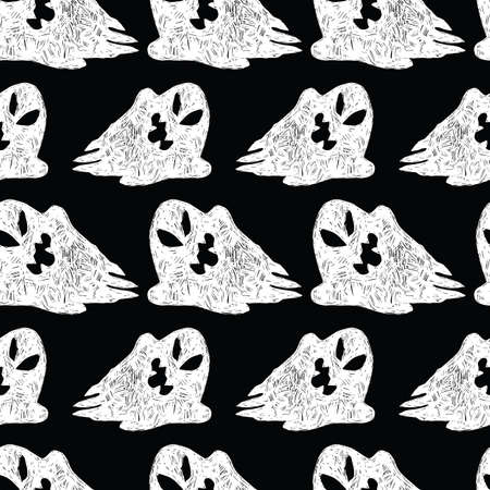 Vector black and white cute sketch of rows of cartoon ghosts seamless pattern. Background for halloween posters, greeting cards, invitations, wrapping paper.