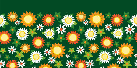Vector colorful dark green textured sunflowers and daisy pen sketch horizontal border pattern. Suitable for textile, gift wrap and wallpaper. Vettoriali