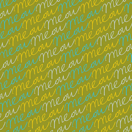 Vector green repeating cat meow horizontal scribble words seamless pattern. Perfect for fabric, scrapbooking and wallpaper projects. Illustration