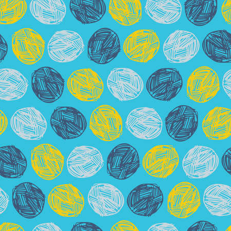 Vector blue ball of yarn textured polka dot repeat pattern. Perfect for fabric, scrapbooking and wallpaper projects. Illustration