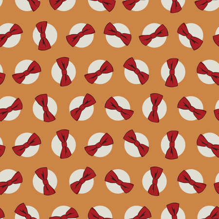 Vector orange bow ties polka dot seamless repeat pattern. Suitable for gift wrap, textile and wallpaper. Illustration