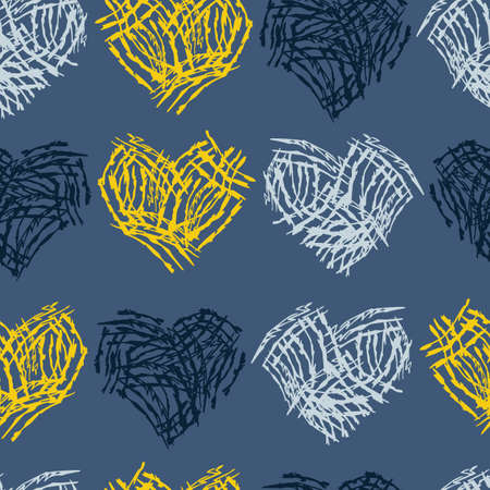 Vector blue heart shaped animal scratch marks seamless texture background. Perfect for fabric, scrapbooking and wallpaper projects.