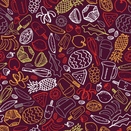 Vector dark purple popsicle fruits ice cream hand drawn doodle repeat pattern background. Perfect for fabric, scrapbooking and wallpaper projects.
