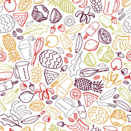 Vector white fruits ice cream hand drawn doodle repeat pattern background. Perfect for fabric, scrapbooking and wallpaper projects. Illustration