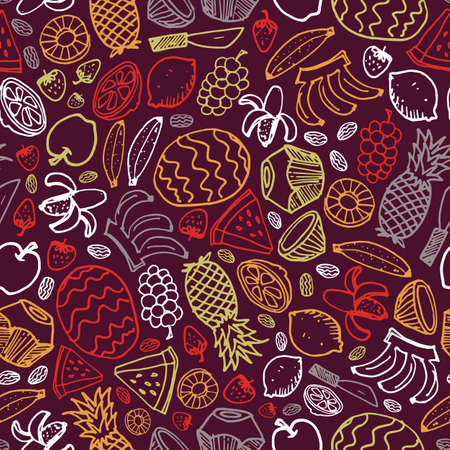 Vector dark purple fruits hand drawn doodle repeat pattern with pineapple, watermelon, dates, strawberry, coconut. Perfect for fabric, scrapbooking and wallpaper projects.