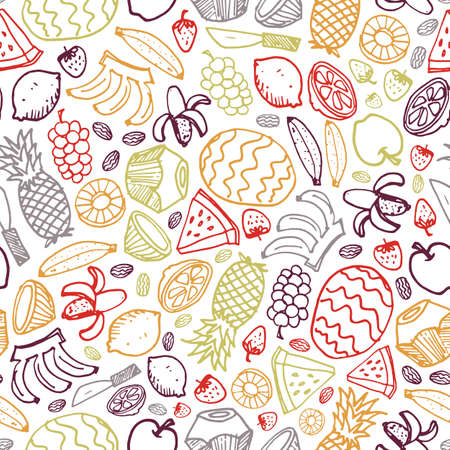 Vector white fruits hand drawn doodle repeat pattern with pineapple, watermelon, dates, strawberry, coconut. Perfect for fabric, scrapbooking and wallpaper projects.