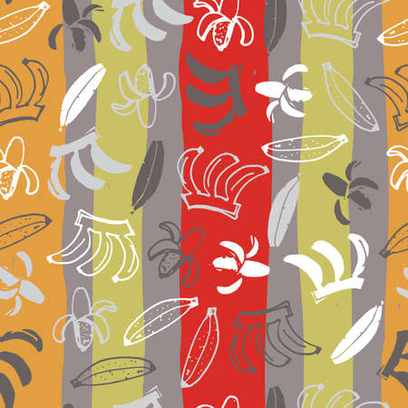Vector grey with colourful stripes hand drawn bananas doodle background pattern. Perfect for fabric, scrapbooking and wallpaper projects.