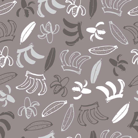 Vector grey monochrome hand drawn bananas doodle background pattern. Perfect for fabric, scrapbooking and wallpaper projects.