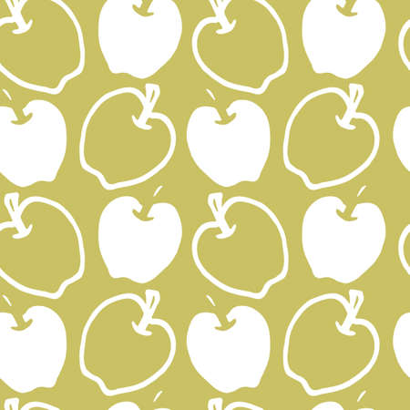 Vector hand drawn green apples simple seamless pattern background. Perfect for fabric, scrapbooking and wallpaper projects.