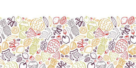 Vector white fruits hand drawn doodle repeat horizontal border with pineapple, watermelon, dates, strawberry, coconut. Great for decorating healthy juice menus and recipes.