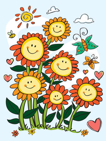 Vector cute colourful happy sun flowers portrait with hearts and butterflies illustration. Perfect for greeting cards and get well soon cards. Illustration