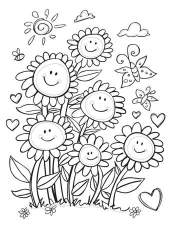 Vector cute black and white outlines happy sun flowers portrait with hearts and butterflies illustration. Great colouring activity for kids. Illustration