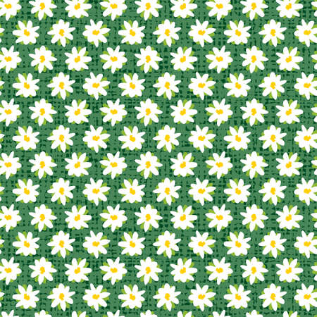 Vector green rows of fun daisy flowers repeat pattern with canvas background. Suitable for textile, gift wrap and wallpaper.